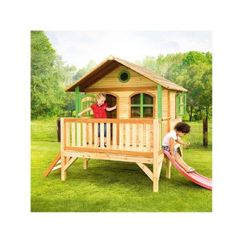 Henham Playhouse - Jumbo Kids Wooden Playhouse with Porch and Slide